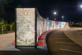 'Vietnam Veterans' Commemorative Walk' in Seymour, Victoria by Phin Murphy, SinatraMurphy and Wayne Deklijn, AQL Landscaping – highly commended in the Architectural Glass Project Award.