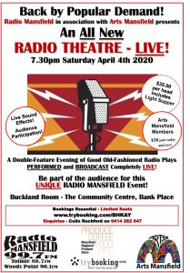Radio theatre live poster with microphone and perrformance April 4 7.30